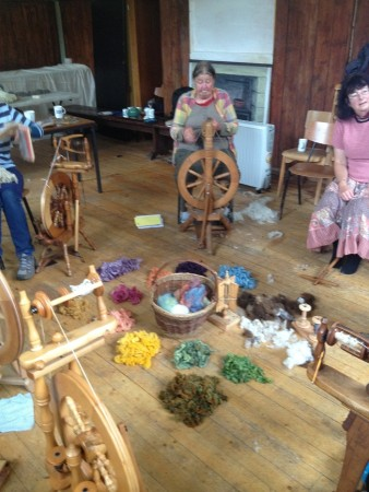 Hand-spinning course, dye to spin week, Wild Rose Escapes