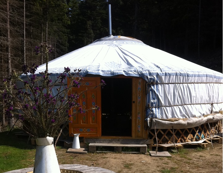 The yurt for glamping at Wild Rose Escapes