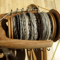 spinning with naturally dyed fleece